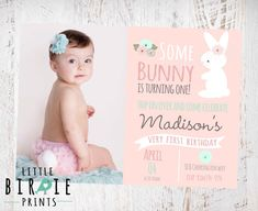 BUNNY BIRTHDAY INVITATION Some Bunny Is Turning One Invitation Cottage Chic First Birthday Bun