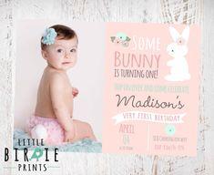 BUNNY BIRTHDAY INVITATION Some Bunny Is Turning One Invitation Cottage Chic First Birthday Bun