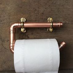 Copper Pipe Toilet Roll Holder, Rustic Bathroom Fixture Artisan Hipster Vintage