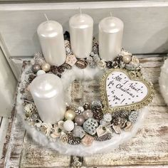 Adventi koszorú #1   30 cm Winter Christmas, Xmas, Advent Wreath, Spatula, Pillar Candles, Centerpieces, Projects To Try, Decorating Ideas, Creative