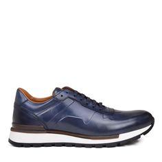 Davio Hand-Burnished Leather Sneaker - Navy Leather – Bruno Magli Mens Dress Sneakers, Leather Sneakers, Classic Sneakers, Italian Leather, Calf Leather, Bruno Magli, Calves, Men's Shoes, Oxford