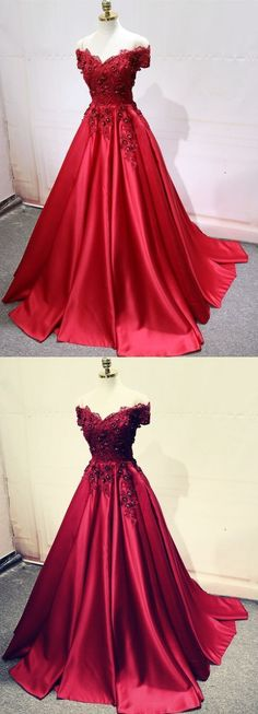 Prom Dresses Ball Gown, A-Line Off-the-Shoulder Pleated Burgundy Satin Prom Dress with Appliques, from the ever-popular high-low prom dresses, to fun and flirty short prom dresses and elegant long prom gowns. Red Satin Prom Dress, Lace Dress, Dress Prom, Quince Dresses, Ball Dresses, Ball Gowns, Beaded Dresses, Beaded Evening Gowns, Evening Dresses