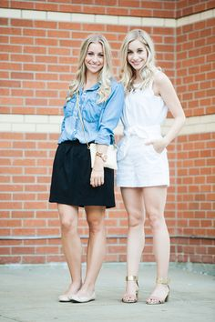 Madewell style with a black skirt and white romper | Fashion Column Twins