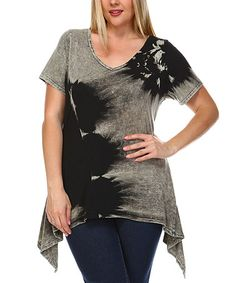 Look what I found on #zulily! Black & Gray Tie-Dye Sidetail Tunic - Plus #zulilyfinds