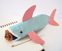 Shark Pencil Case - Fun Zipper Pouch - Unique Kids Gift Idea: Beach Bubbles Shark Bite. $35.00, via Etsy.