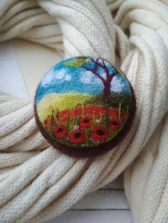 Red flower brooch Needle felted poppy brooch Tree jewelry