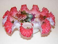 ANTIQUE VICTORIAN  ART GLASS RUFFLED BRIDES BASKET VASE BOWL CRANBERRY  1880 | Antiques, Decorative Arts, Glass | eBay!