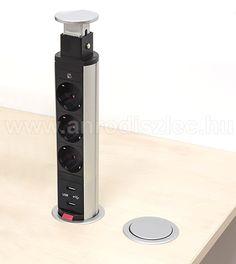 Rejtett elosztó bútorlapba építhető, kör alakú (3-as+2 USB port)