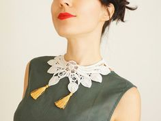 NECKLACE // Ocella // Handmade Ivory Lace Collar Necklace by EPUU, $38.00
