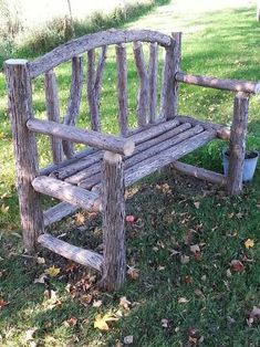 16 Creative and Rustic Garden DIYs Willow Furniture, Rustic Log Furniture, Diy Garden Furniture, Diy Garden Decor, Modern Furniture, Rustic Gardens, Outdoor Gardens, Garden Seating, Garden Projects