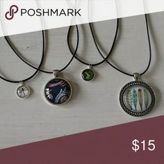 Boho style necklace fashion jewelry lot nwt All new with tags all come on 19 inch black leather chains. Lots sold as is. Will not separate. Jewelry Necklaces