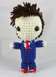This is a Tenth Doctor (from Doctor Who) doll pattern. The colors used are Aran, White, Red, Blue, Brown and Light Brown. None of these should require more than one skein if you are using Red Heart Super Saver yarn.