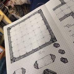 billiambabble:  #dungeontile #fineliner #cat #dungeonsanddragons #pathfinder #RPG #detail #bones #map #graphpaper #quadrilled #moleskine #notebook … no comment just tags … ;)