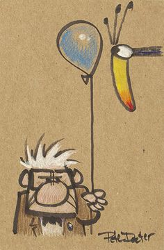 Aardman auction: Carl Fredrickson and Kevin by Pete Docter