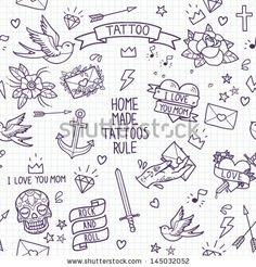 Old school tattoo seamless pattern. Cartoon vector tattoo elements in funny style:anchor, dagger, skull, flower, star, heart, diamond, scull...