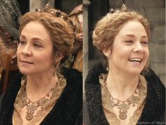 """In the episode (""""Terror of the Faithful"""") Queen Catherine wears a vintage necklace from WhyNaughtVintage. Worn with Stephen Dweck earrings, Treasures for a Queen crown. Reign Catherine, Megan Follows, Reign Fashion, The Cw Shows, Stephen Dweck, Queen Crown, Anne Of Green Gables, Actors & Actresses, Fangirl"""