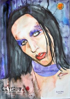 Is There Life on Earth? - Marilyn Manson by Susanna Varis water color 2011