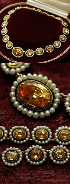 Antique Topaz and pearl rivière necklace, ca. 1820, Frnce, topazes, natural pearls, black enamel, 18k gold, 40cm, 52.2g