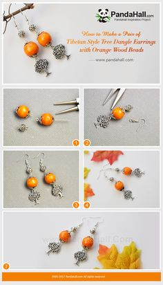 #PandaHall Inspiration Project---#TibetanStyle #Tree #DangleEarrings with #Orange #WoodBeads Use #alloy round beads, #flower bead caps and wood beads to make long #dangles. By adding earring hooks, you can get a pair of Tibetan style dangle earrings. #freetutorial #howto #diyearrings #jewelrymaking  PandaHall Beads App, download here>>>goo.gl/RAEuuP Free Coupons: PHENPIN5 (Save $5 for $70+) PHENPIN7(Save $7 for $100+)