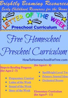 FREE Homeschool Preschool and Elementary Curriculum by Brightly Beaming Resources!