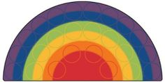 Carpets for Kids Rainbow Rows Rug (Factory Second) - Semi-Circle - 6' x 12' by Carpets for Kids. $239.95