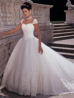 Princess Like White Wedding Dress-Love the cap sleeves