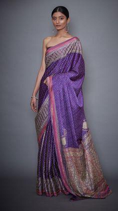 Saree Blouse Patterns, Saree Blouse Designs, Blouse Styles, Indian Attire, Indian Outfits, Indian Dresses, Purple Saree, Ritu Kumar, Banarasi Sarees
