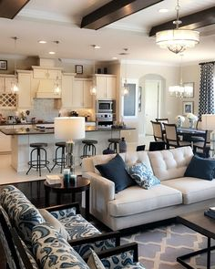 Home Decoration Rustic .Home Decoration Rustic Home Living Room, Living Room Decor, Living Room And Kitchen Together, Open Kitchen And Living Room, Living Dining Combo, Cozy Living Rooms, Interior Design Living Room, Living Room Designs, Family Room Design