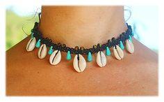 Cowrie Shell Choker Necklace black / Cowrie Macrame by Malatichan