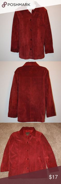 """BRANDON THOMAS Womens Small Dark Red Suede Leather Brandon Thomas  Very Good Condition - No Holes  NOTE:  There is a small amount of wear/dirty marks, there is a pen mark near button - See Photos  Jacket / Coat  Suede Leather  Dark Red  Two Front Pockets  Lined  Button Up Front     Chest:  39"""" (armpit to armpit then doubled)  Sleeve Length:  22 1/2""""  Length:  29""""  Shoulder to Shoulder:  18""""  Shell:  100% Leather  Lining:  100% Polyester Brandon Thomas Jackets & Coats"""