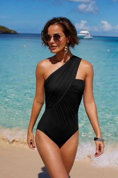Goddess Crossover One Piece Swimsuit - Show-stopping Swim - Badeanzug Summer Bathing Suits, Bathing Suits One Piece, Black One Piece Swimsuit, One Piece Swimsuit Flattering, One Piece Swimwear, Swimsuit With Skirt, 80s Swimsuit, Striped Swimsuit, Swim Skirt