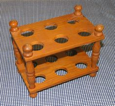 Vtg c70s wooden pine egg rack 2-tier 12-egg holder freestanding, turned spindles