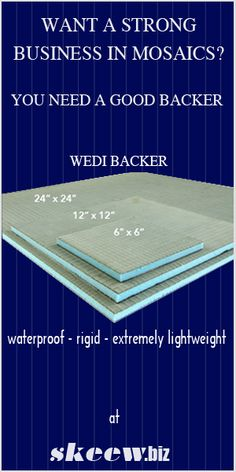 Have you tried Wedi Backers? They are wedi board in perfect sizes for your mosaic art. Mirror Mosaic, Mosaic Wall, Mosaic Glass, Mosaic Tiles, Glass Art, Sea Glass, Stained Glass Birds, Stained Glass Panels, Mosaic Crafts