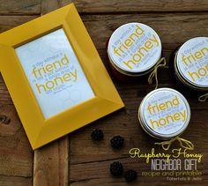 raspberry honey neighbor gift recipe and printable