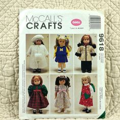 Doll Clothes Pattern, McCalls 9618 Crafts, FREE SHIP, Gotz, 18 Inch Wardrobe, 1998 Uncut * FREE SHIPPING in the US and reduced shipping