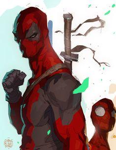 "Geek The Geek — Deadpool Teach… Spidey… Learn by Coran ""Kizer"". Deadpool Art, Deadpool And Spiderman, Batman, Deadpool Movie, Comic Book Heroes, Comic Books Art, Comic Art, Digimon, Storyboard"