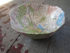 Handmade Paper Mache Bowl - Map of Utah and the Rockies on Etsy, $24.00. Cool to put jewelry into.