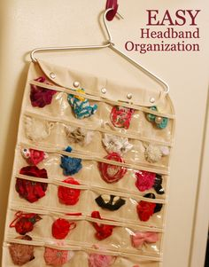 I came up with this easy bow or headband organization and have been loving it. Simply use a jewelry organizer and hang in a bathroom closet. :)