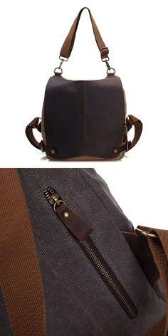 Genuine Leather Canvas Functional Backpack Shoulder Bag For Men And Women Deals