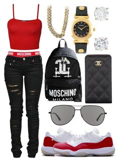 """Friday"" by neilaninewsome ❤ liked on Polyvore featuring mode, Moschino, Denim of Virtue, Revo, WearAll, Chanel, CO et Versace"