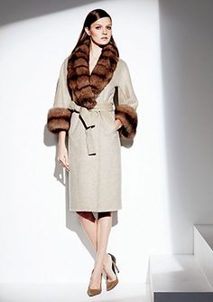 LILLY E VIOLETTA Tan Cashmere Coat with Natural Russian Sable Fur Collar and Cuff