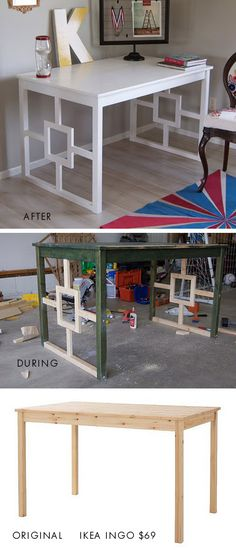 IKEA ingo dining table to desk makeover found here: matsutakeblog.blo...