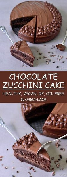 Chocolate zucchini cake recipe which is healthy vegan gluten-free refined sugar-free egg-free dairy-free and oil-free. This healthy vegan chocolate cake is rich fudgy easy to make and delicious Vegan Treats, Vegan Foods, Vegan Desserts, Delicious Desserts, Dessert Recipes, Recipes Dinner, Dinner Ideas, Snacks Recipes, Recipies