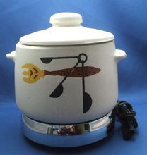 West Bend Bean Pot & Lid With Chrome Warmer Tray