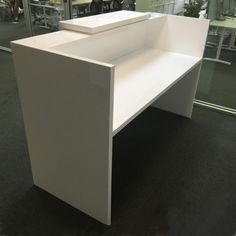 Modern custom reception desk in white lacquer
