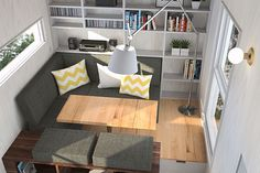 The living room of the Atelier Praxis, a 180 sq ft modular tiny house