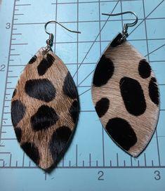 Real cheetah leather earrings
