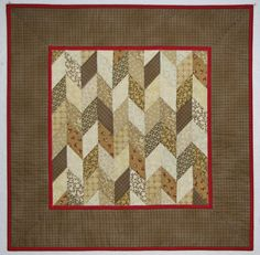 Quilted Table Topper, Square Quilted Table Mat, Brown Tan Beige Soft Red Reproduction Prints, Traditional Herringbone, Quiltsy Handmade by VillageQuilts on Etsy