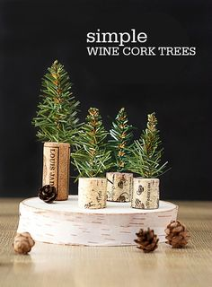 These super cute and simple DIY Simple Wine Cork Trees make a sweet addition to your winter mantel and are quaint enough to keep up all season long!