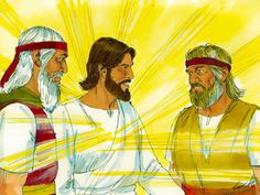 Two men, Moses and Elijah, appeared in glorious splendour, talking with Jesus. They talked about the things that were about to happen to Jesus to fulfill the scriptures. Free Stories, Bible Stories, Free Bible Images, Gospel Of Mark, Luke 9, Matthew 17, The Transfiguration, Bible Illustrations, Bible Activities